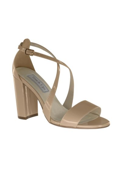 Crisscross Strap Block Heel Sandals - These chunky-heeled matte satin sandals captivate with crisscross