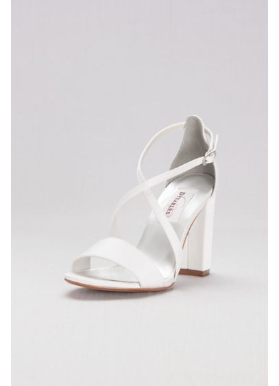 Dyeables White (Dyeable Crisscross Strap Block Heel Sandals)