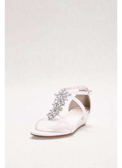 f04d57b48fa David s Bridal White (Starburst Crystal Satin Mini Wedge Sandals)