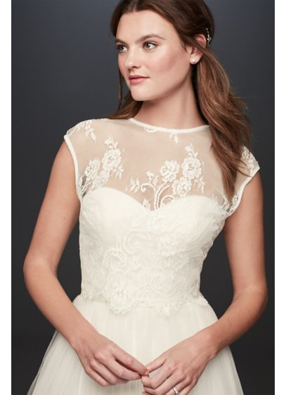 Open Back Lace Cap Sleeve Wedding Dress Topper - Wedding Accessories