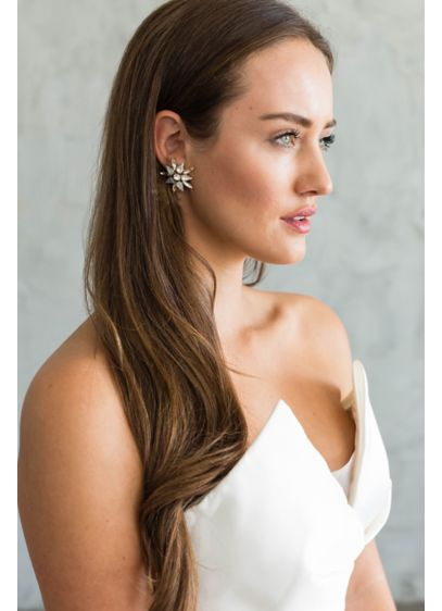 Brides and Hairpins Grey (Swarovski Crystal and Sterling Burst Earrings)