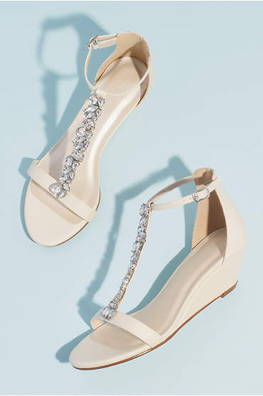 Crystal Encrusted T-Strap Metallic Wedge Sandals