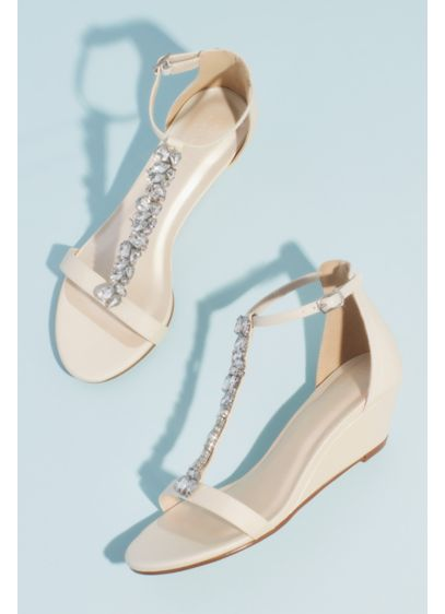 Crystal Encrusted T-Strap Metallic Wedge Sandals - Dare to dazzle in these light-catching sandals. Clusters