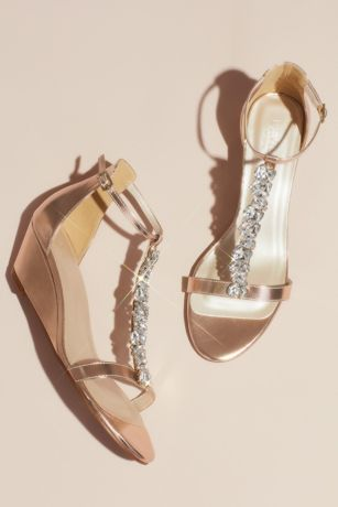 David's Bridal Ivory;Pink Wedges (Crystal Encrusted T-Strap Metallic Wedge Sandals)