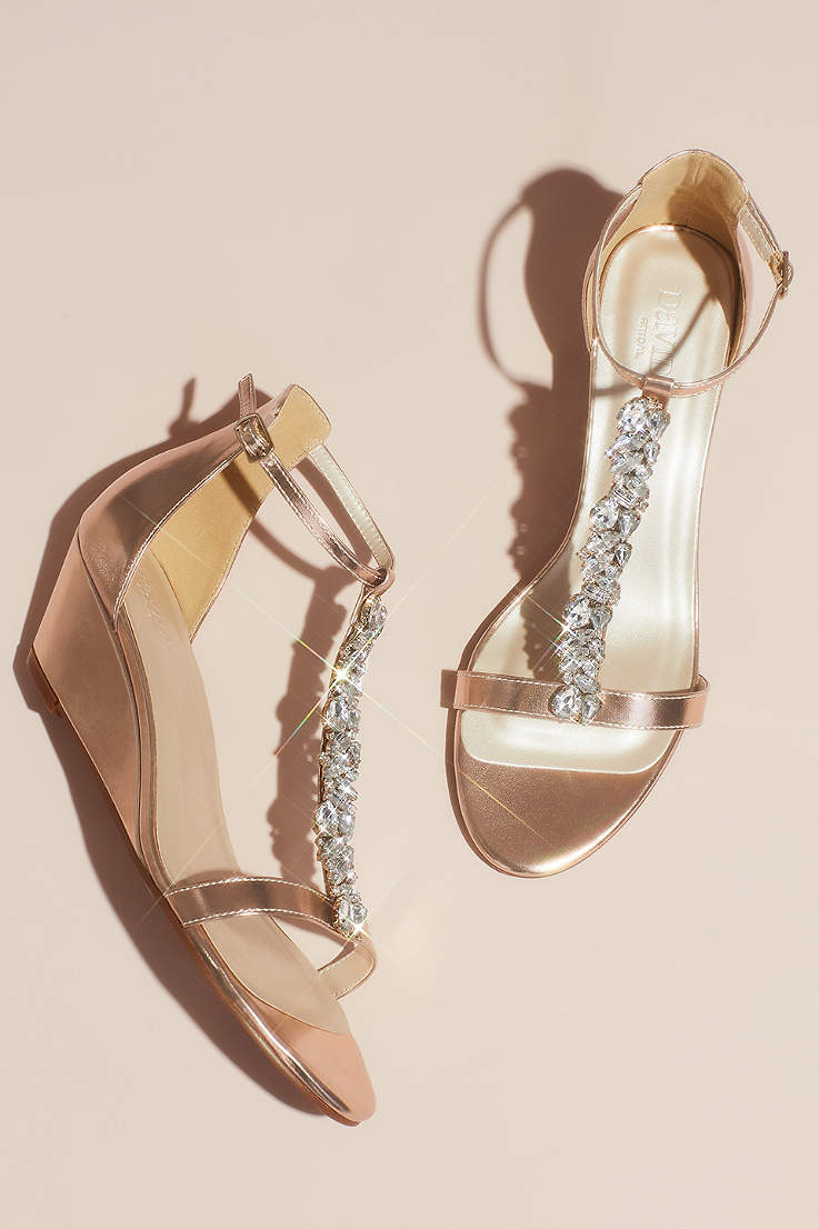 Women S Rose Gold Shoes Heels Blush Metallic David S Bridal