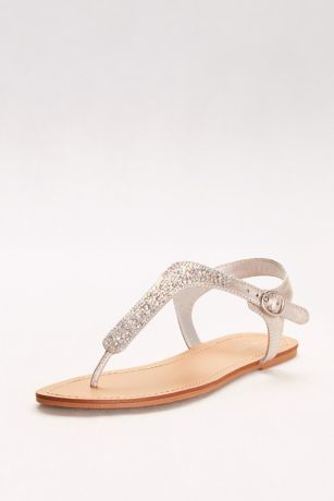 David's Bridal Grey Flat Sandals (Metallic T-Strap Thong Sandals with Crystals)
