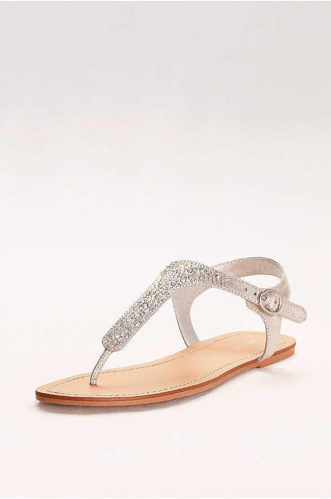 Metallic T-Strap Thong Sandals with Crystals - These simple summer sandals are festively blinged out