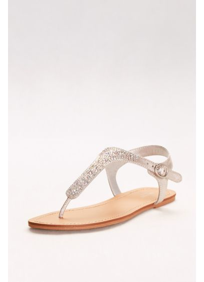 David s Bridal Grey (Metallic T-Strap Thong Sandals with Crystals)
