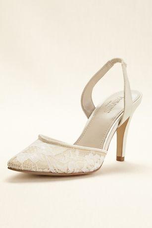 David's Bridal Black;Ivory Closed Toe Shoes (Pointed Toe Illusion Lace Slingback Mid Heel)