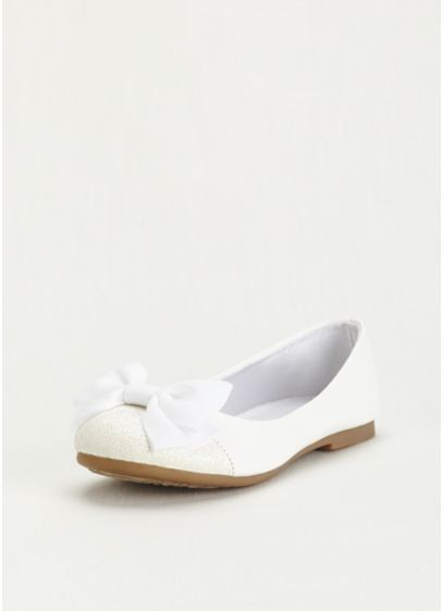 Dreams White (Flower Girl Glitter Toe Flat with Front Bow)
