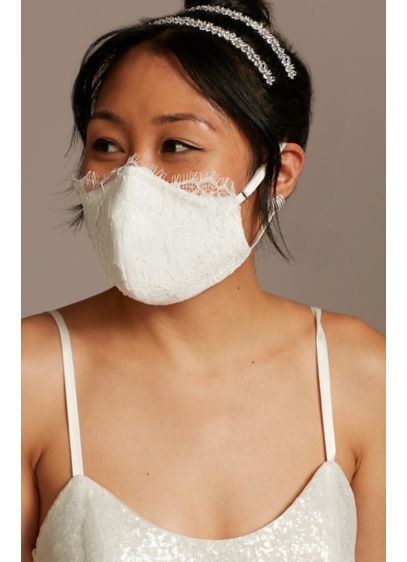 Eyelash Lace and Satin Loop Fashion Face Mask - Crafted of satin and delicate eyelash lace, this