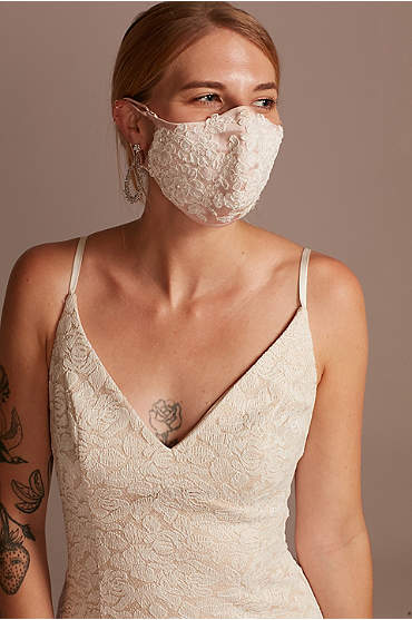 Satin Fashion Face Mask with Floral Lace Applique