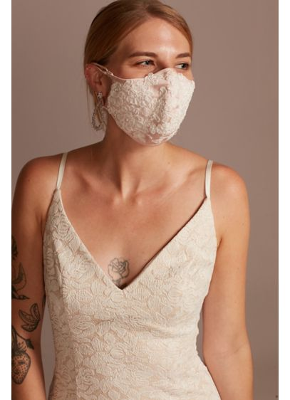 Satin Fashion Face Mask with Floral Lace Applique - Wedding Accessories