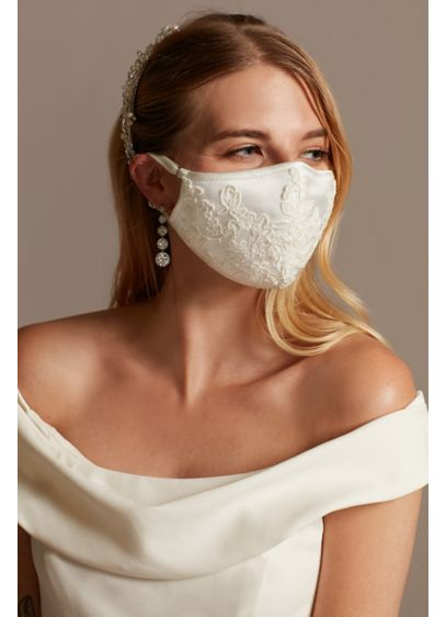Corded Lace Applique Satin Fashion Face Mask - An elegant option that encourages safe social practices,