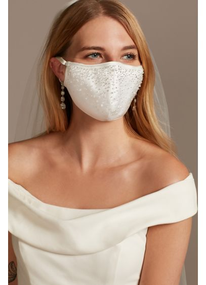 Scattered Crystal Satin Fashion Face Mask - Wedding Accessories