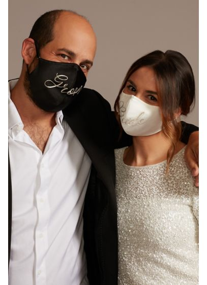 Embroidered Script Bride and Groom Face Mask Set - This his and hers set of fashion face