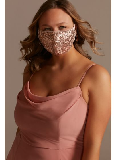 Sequined Tulle-Trim Mask with Adjustable Ear Loops - Wedding Accessories