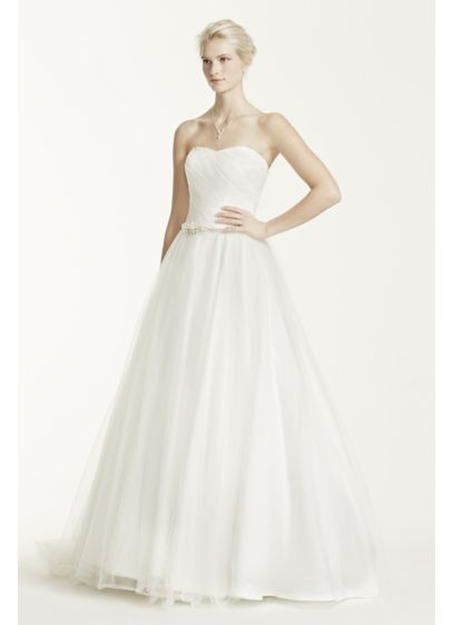 Strapless Ruched Bodice Tulle Wedding Dress | David\'s Bridal