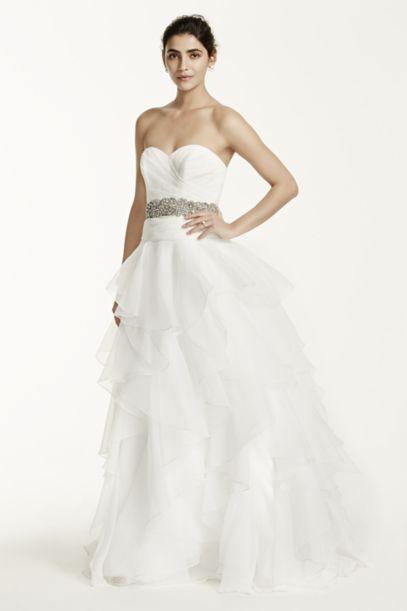 Strapless Organza Wedding Dress with Ruffles Davids Bridal