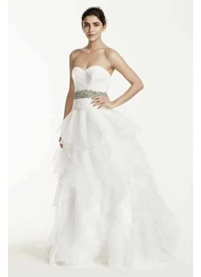 Strapless Organza Wedding Dress with Ruffles | David\'s Bridal