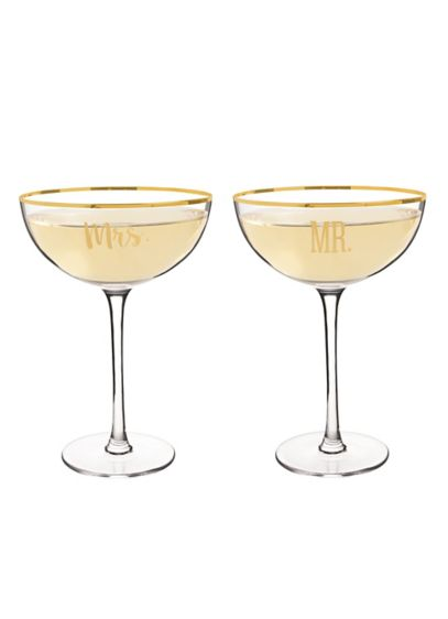 Mr and Mrs Coupe Champagne Flutes with Gift Box - Wedding Gifts & Decorations