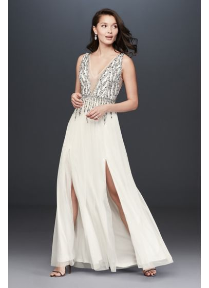 Long A-Line Beach Wedding Dress - Aidan Mattox