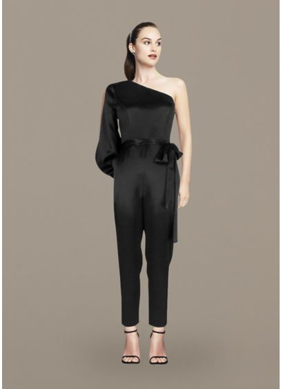 Long Jumpsuit One Shoulder Cocktail and Party Dress - Aidan Mattox