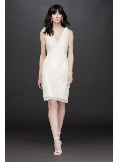 Short Sheath Beach Wedding Dress - Aidan Mattox