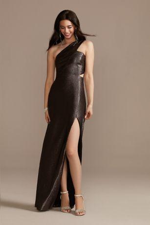 Long Sheath One Shoulder Dress - Aidan Mattox
