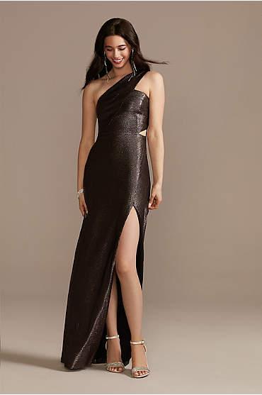 Foiled Metallic One-Shoulder Dress with Slit