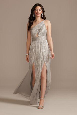 Long A-Line One Shoulder Dress - Aidan Mattox