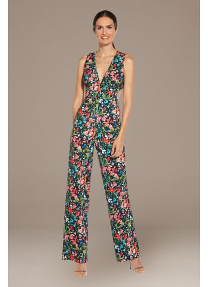 Floral Sleeveless Open-Back Jumpsuit - Featuring a deep V-neck and sexy open back