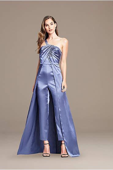 Asymmetrical Satin Jumpsuit with Skirt Overlay
