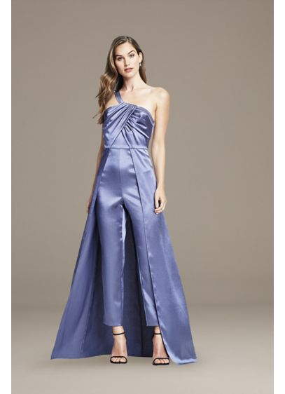 Asymmetrical Satin Jumpsuit with Skirt Overlay - This satin jumpsuit means business in all the