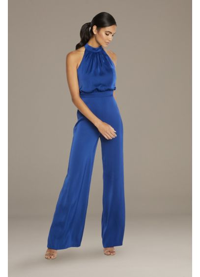 High Neck Flare Jumpsuit - Sexy in satin, this jumpsuit features a high
