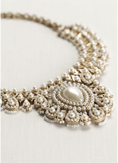 Woven Bead and Pearl Statement Necklace - Wedding Accessories