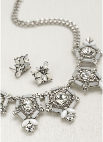 Geo Stone Mini Statement Necklace and Earring Set - Wedding Accessories