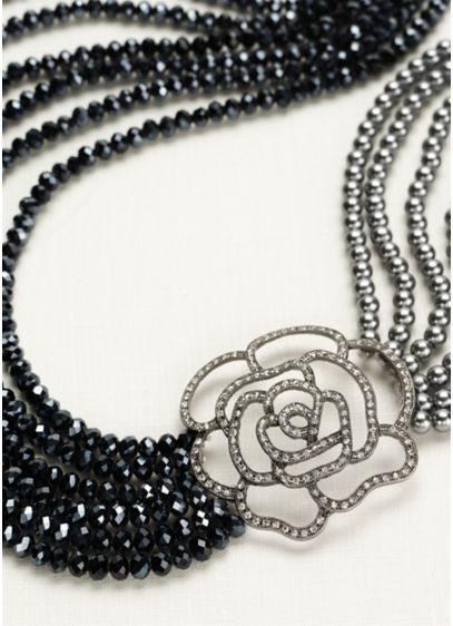 Pearl and Bead Necklace with Crystal Rose - Wedding Accessories