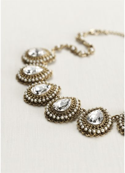 Baroque Teardrop Crystal and Pearl Necklace - Wedding Accessories
