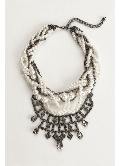 Multi Row Pearl and Crystal Woven Necklace - Wedding Accessories
