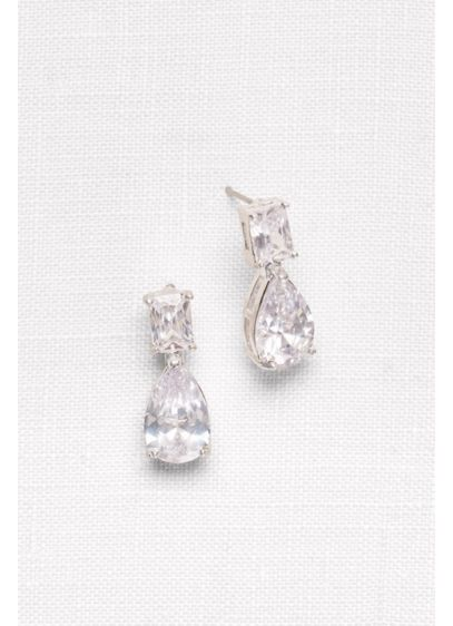 Emerald- and Pear-Cut Cubic Zirconia Earrings - Wedding Accessories