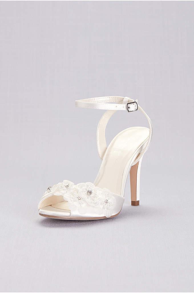 Floral Applique Satin Ankle-Strap Pumps - Three-dimensional floral appliques, centered with sparkling gems, romance