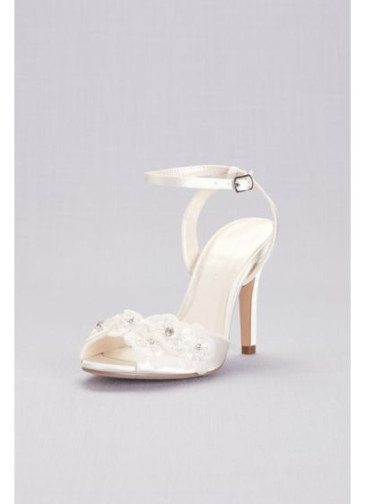 Floral Applique Satin Ankle-Strap Pumps - Three-dimensional floral appliques, centered with sparkling gems, romance