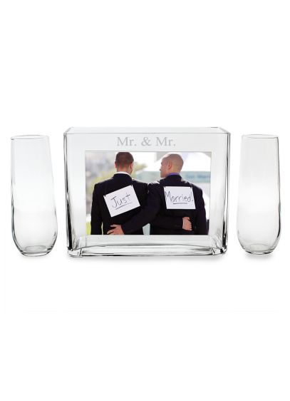 Mr. and Mr. Sand Ceremony Photo Vase Unity Set - Wedding Gifts & Decorations