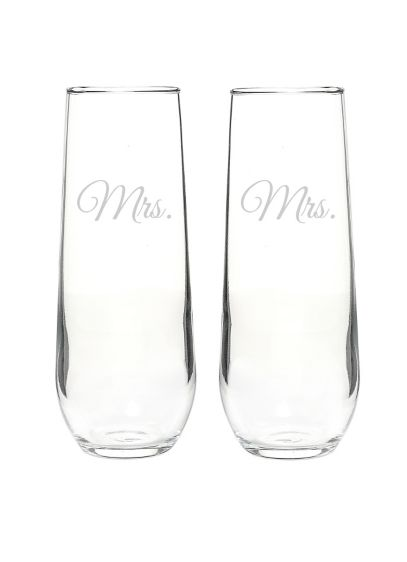 Mrs. and Mrs. Stemless Champagne Toasting Flutes - Wedding Gifts & Decorations