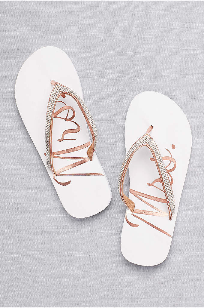 Glitter Mrs Flip Flops - Slip into printed Mrs. flip flops for pre-ceremony