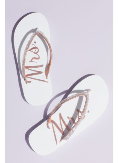 Rhinestone Mrs Flip Flops - Slip into printed Mrs. flip flops for pre-ceremony