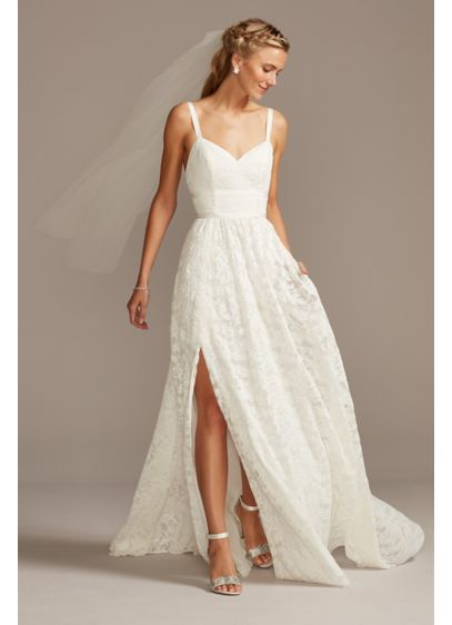 Grosgrain Banded Stretch Lace Wedding Dress - Enhanced with elevated, sultry details, this stretch lace