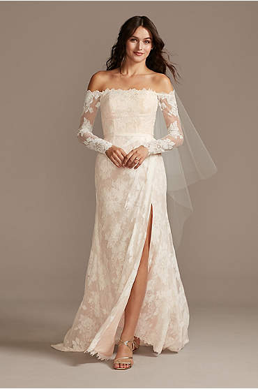 Large Floral Lace Long Sleeve Wedding Dress