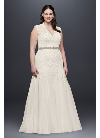 Melissa Sweet Trumpet Lace Plus Size Wedding Dress - Figure-flattering design and craftsmanship make this cap-sleeve trumpet